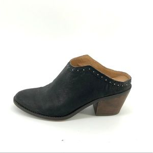 Lucky Brand Mabri Bootie 9 Black Leather Mule Shoe